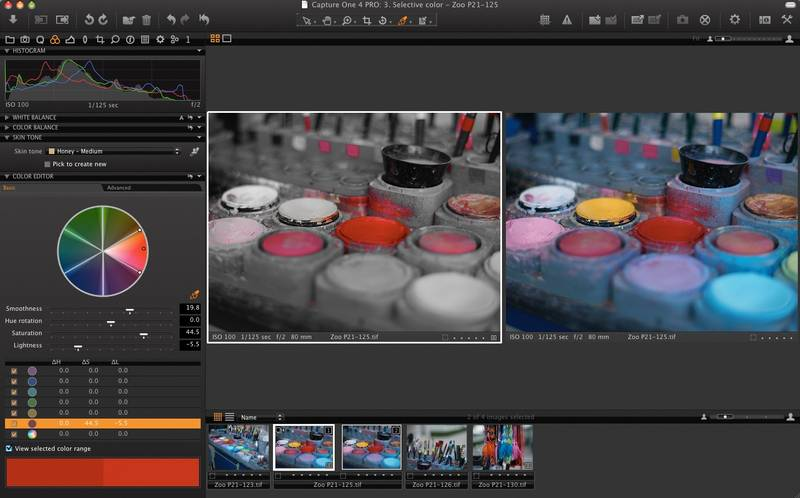 Phase One Capture One 4 Pro offers selective color editing controls.