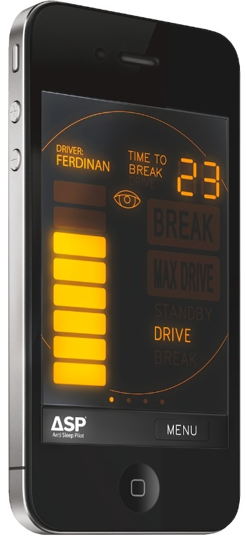 The Anti Sleep Pilot app for iPhone periodically asks the driver to tap the screen to measure driver alertness.