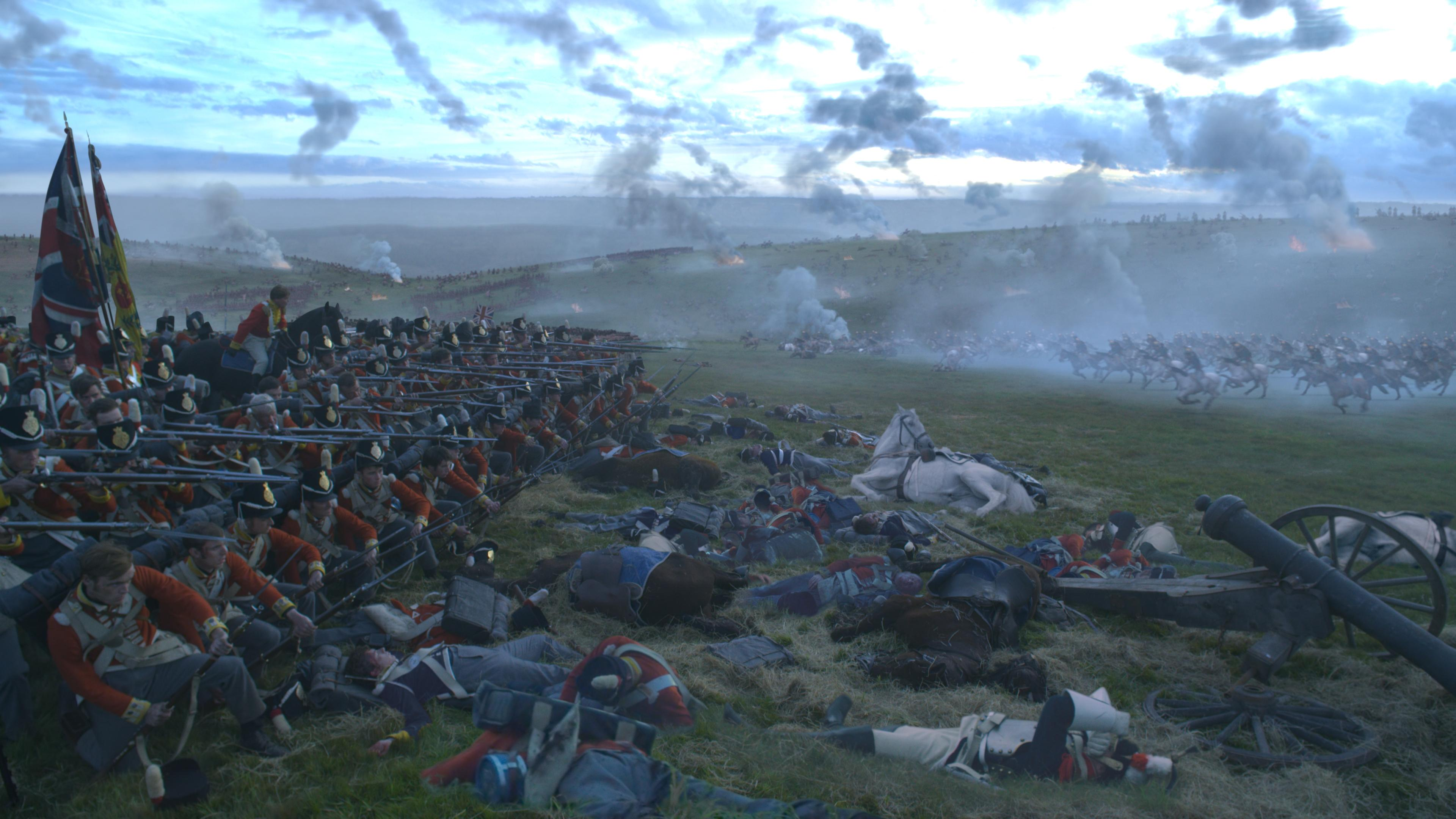 Many of the elements in this image of the Battle of Waterloo were added digitally, such as the charging armies, wounded soldiers and smoke.