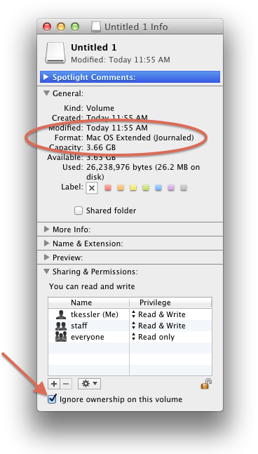 Drive information window in OS X