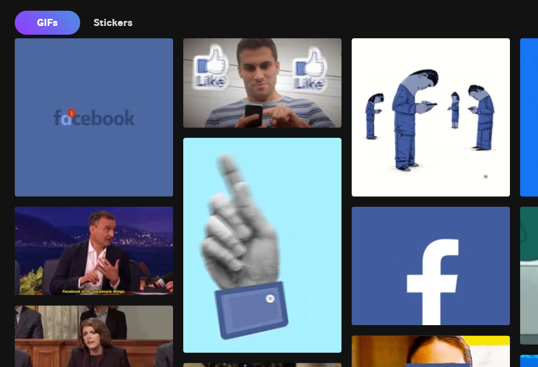 <p>A search for Facebook on Giphy.</p>
