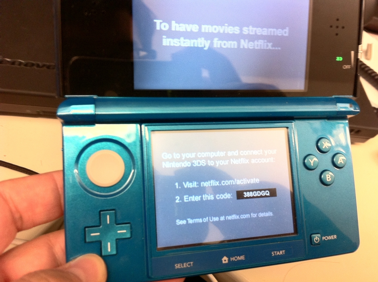 Netflix on the 3DS needs a Web browser to activate.