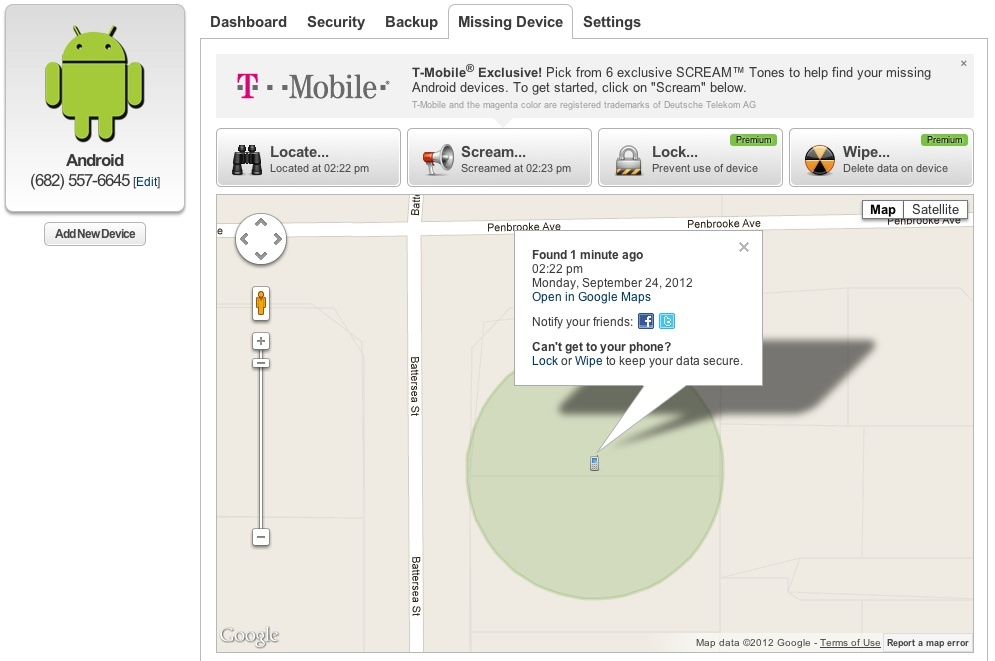 Lookout Mobile Missing Device screen