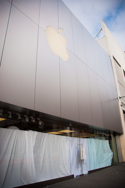 Apple's San Francisco retail store puts up curtains ahead of the event.