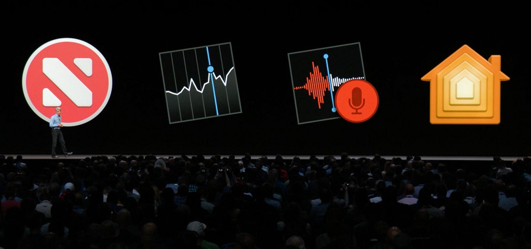 Four apps Apple wrote for iOS apps have been adapted to run on MacOS Mojave.