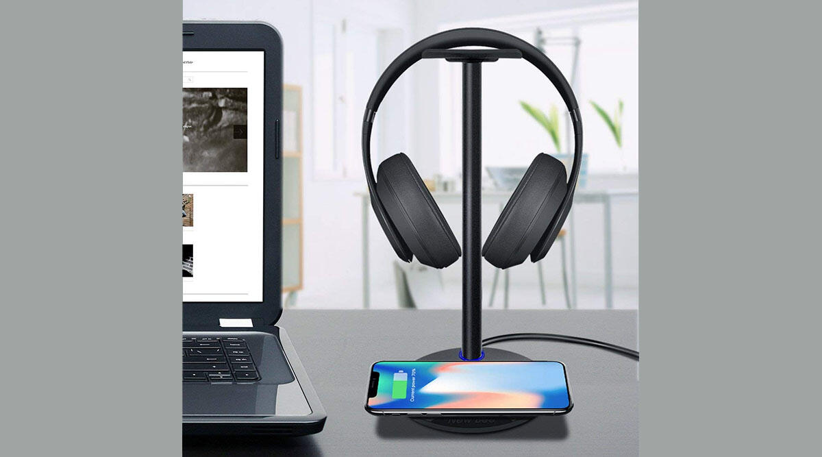 A headphone stand that doubles as a wireless charger