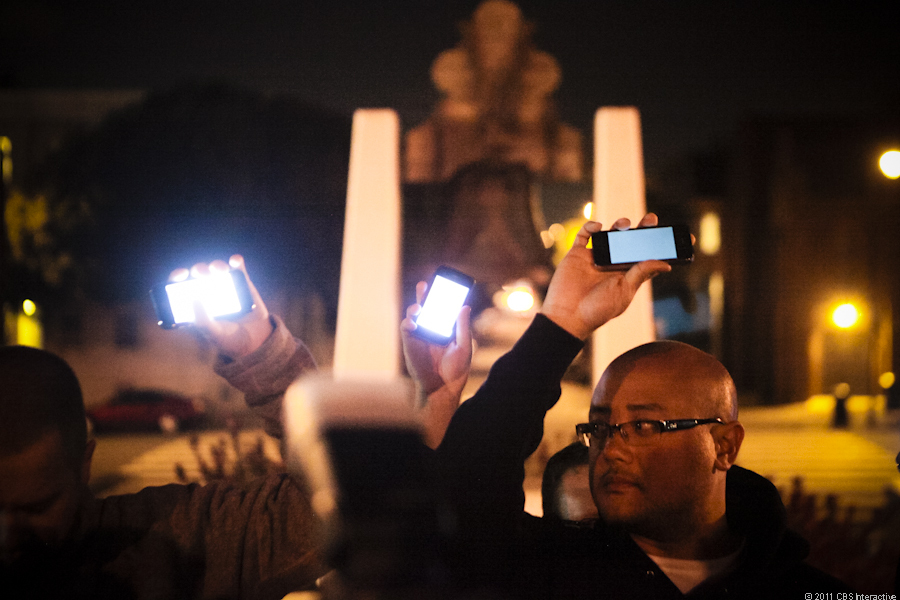 The iPhone candlelight vigil in San Francisco's Dolores Park Wednesday night.