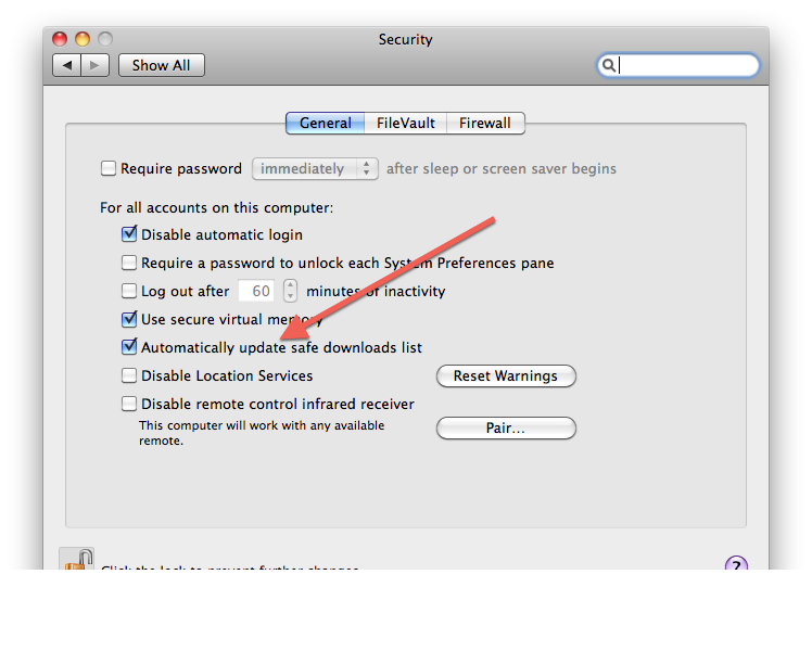 Security System Preferences