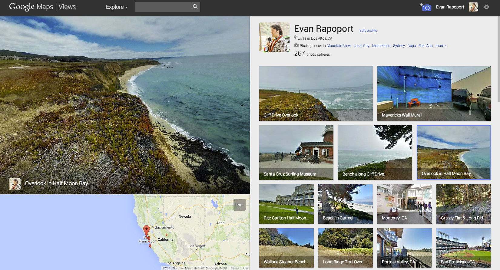 Google's photo spheres on the Web giant's Views Web site.