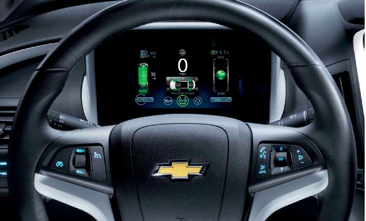 The efficiency gauge on the Volt's instrument panel can help drivers maximize fuel economy.