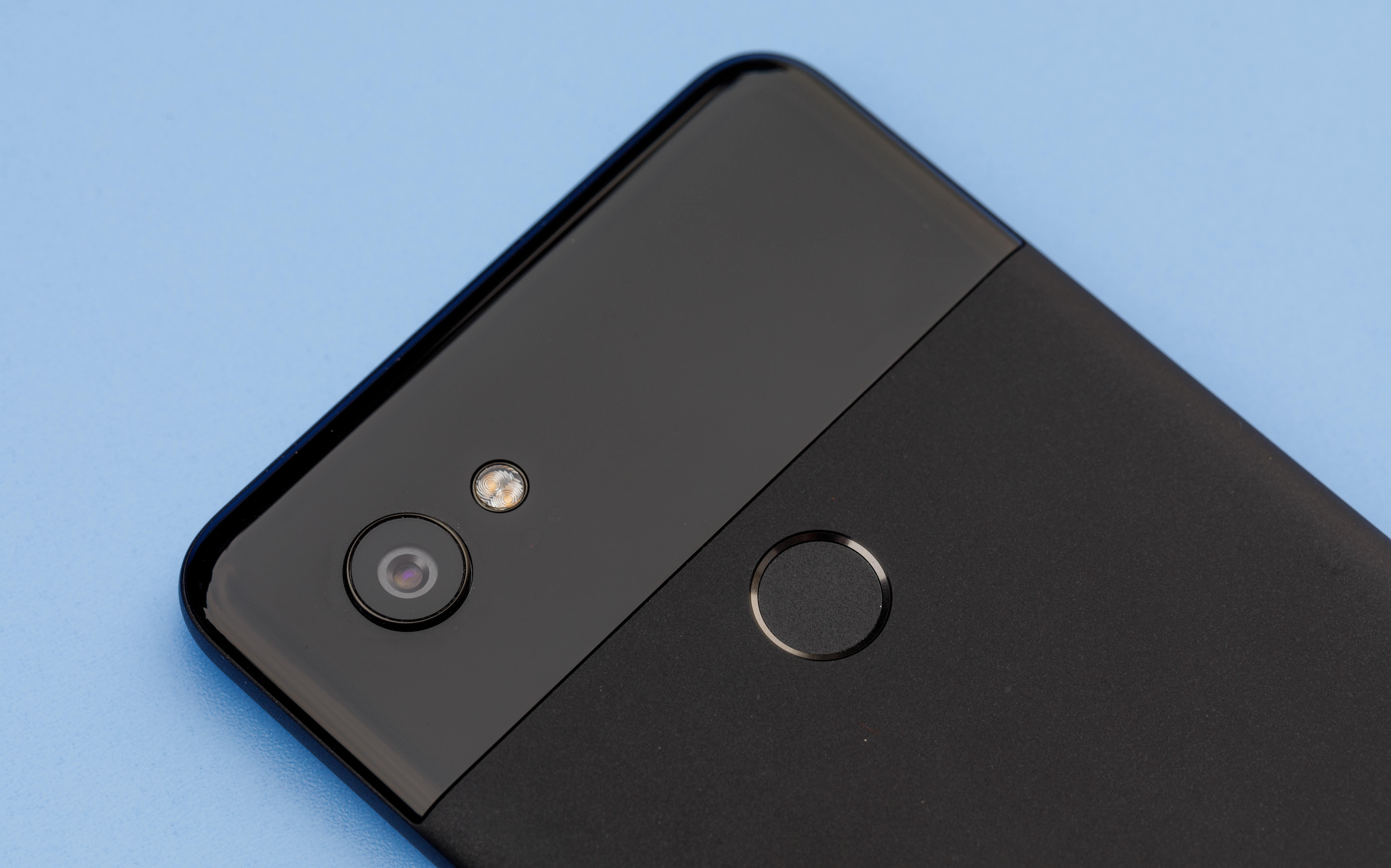 Google's Pixel 2 XL has a single camera, unlike rival flagship phones from Apple and Samsung. The second circle is a fingerprint reader.
