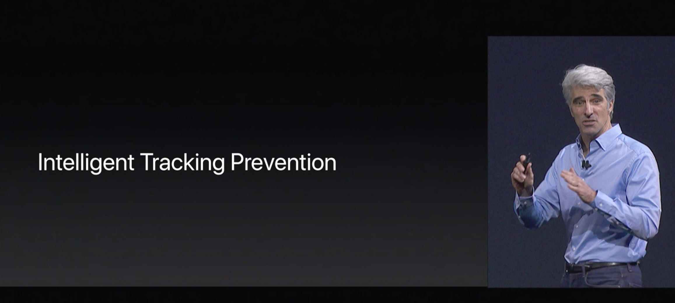 Apple software Senior Vice President Craig Federighi announces Safari's intelligent tracking prevention in June 2017 at an Apple conference.
