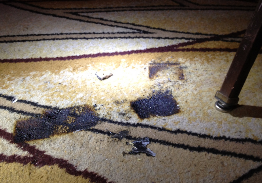 These are the burn marks that were left on the floor after the incident. The chair was removed right after the accident.