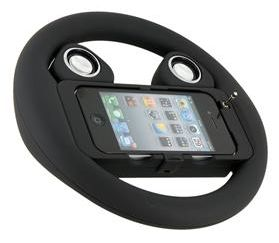 Think of it as an iPhone speaker dock that happens to be shaped like a steering wheel. Or a steering wheel that doubles as a speaker dock.