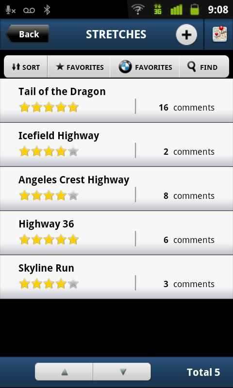 A list of drive stretches in BMW Ultimate Drive app for Android.