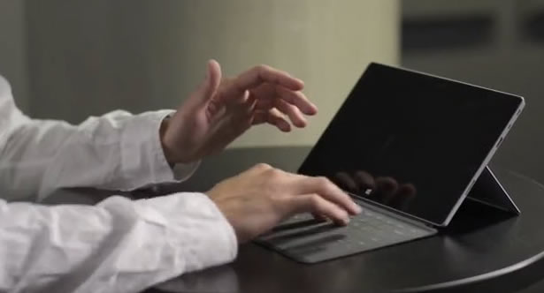 You can create gestures by swiping across the keyboard in Surface 2.