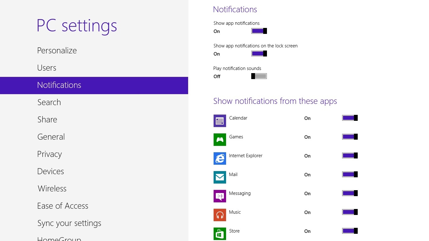Windows 8 notification settings