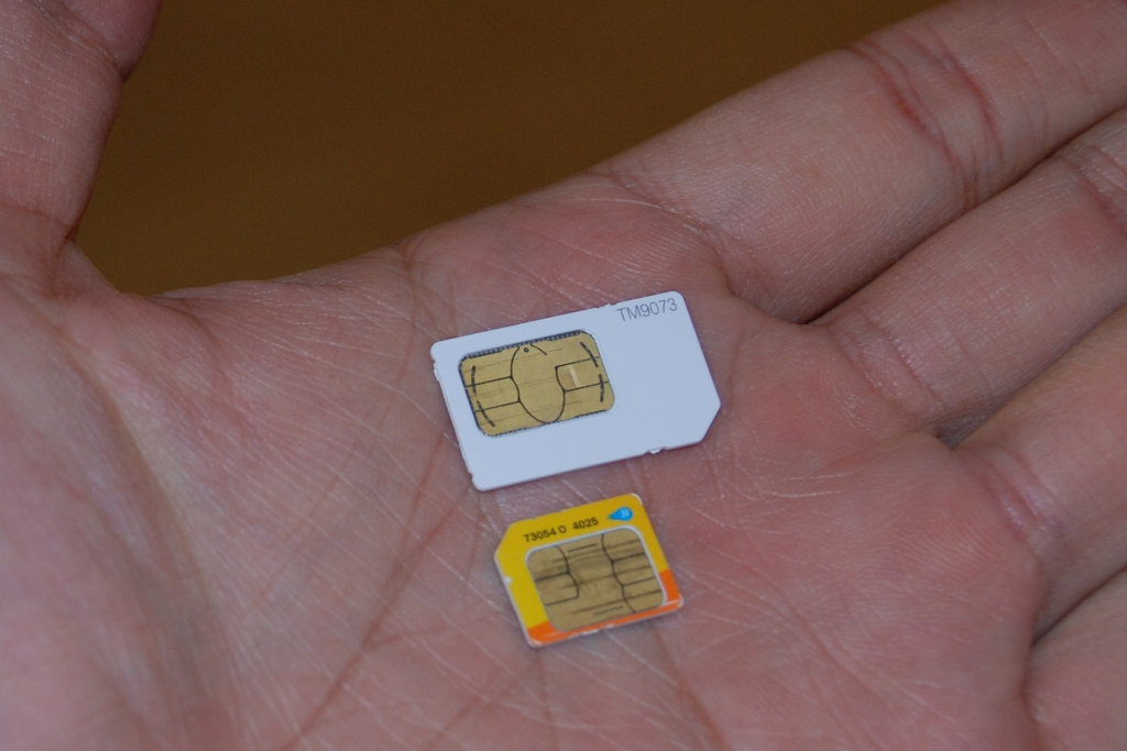 A regular SIM card and a micro-SIM card for the iPhone 4.