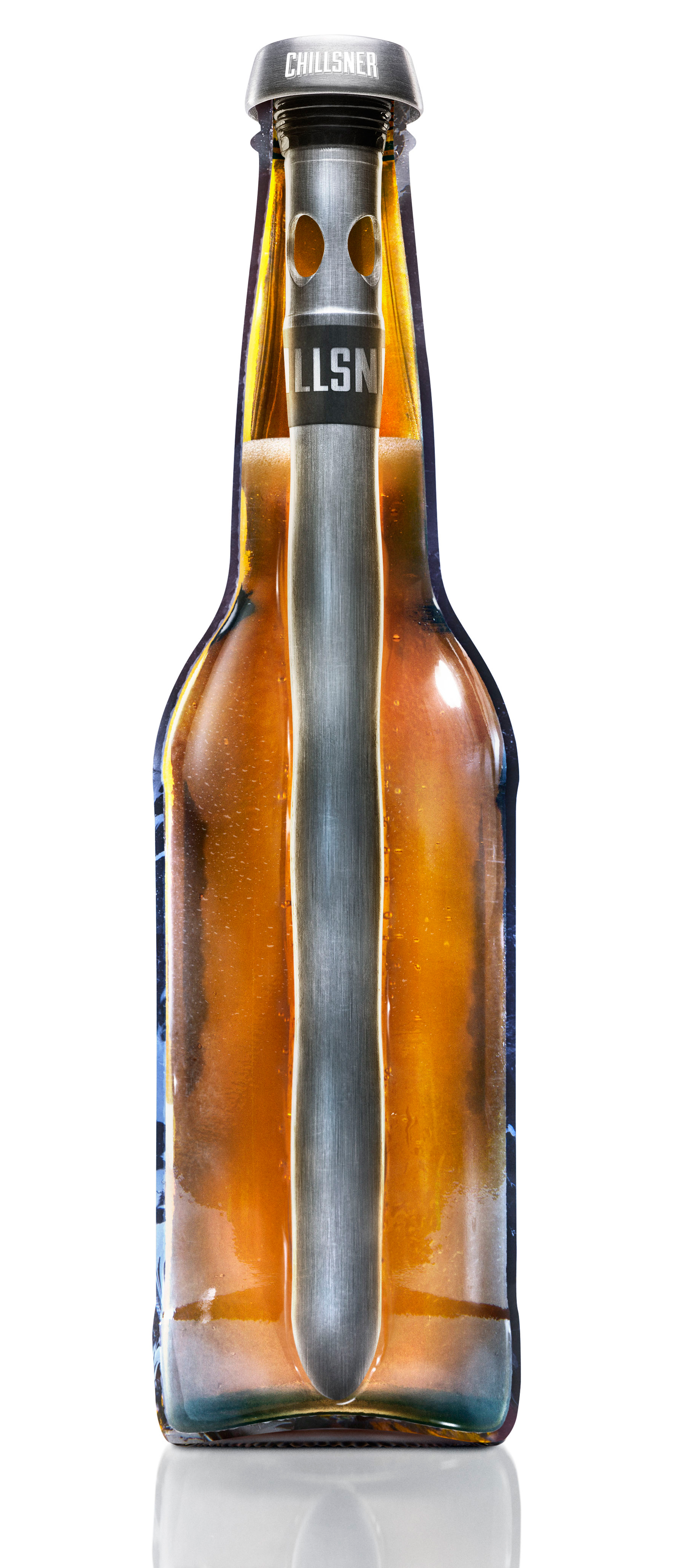 Keep the Chillsner in the freezer -- not the bottle of beer.