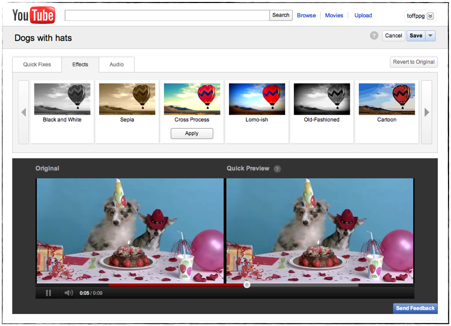 YouTube's new visual effects filters, done in a collaboration with Google-owned Picnik.