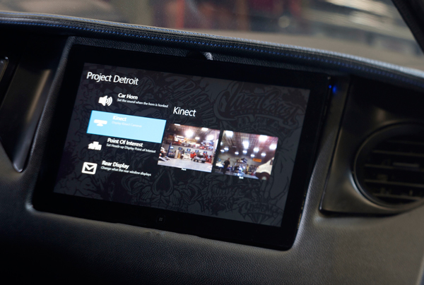 Microsoft embedded Kinect Cameras in the front and rear of its Project Detroit prototype connected car.