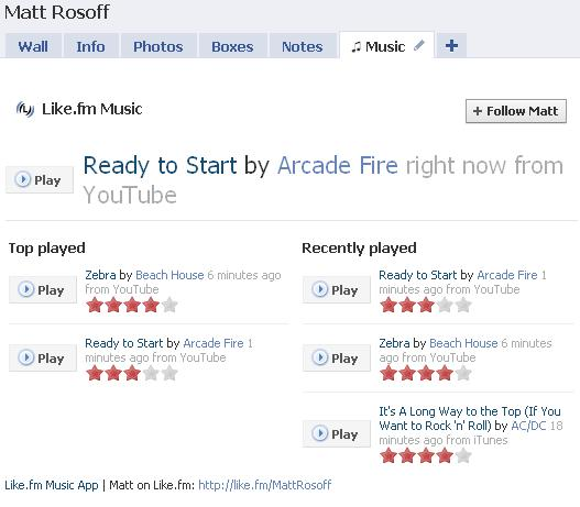 Like.fm music tab on Facebook