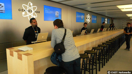 The Genius Bar at Apple's retail store on West 14th Street in New York, which can service 100 customers an hour.
