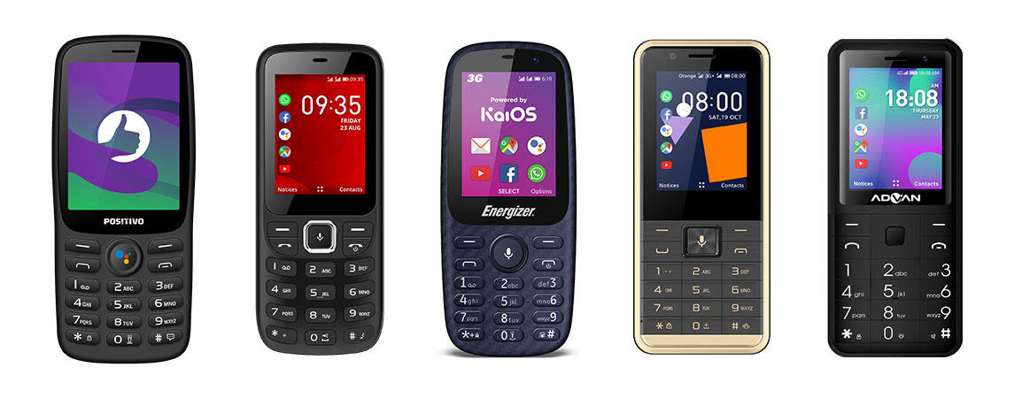 A few of the 34 feature phones available today powered by KaiOS, a browser-based operating system.