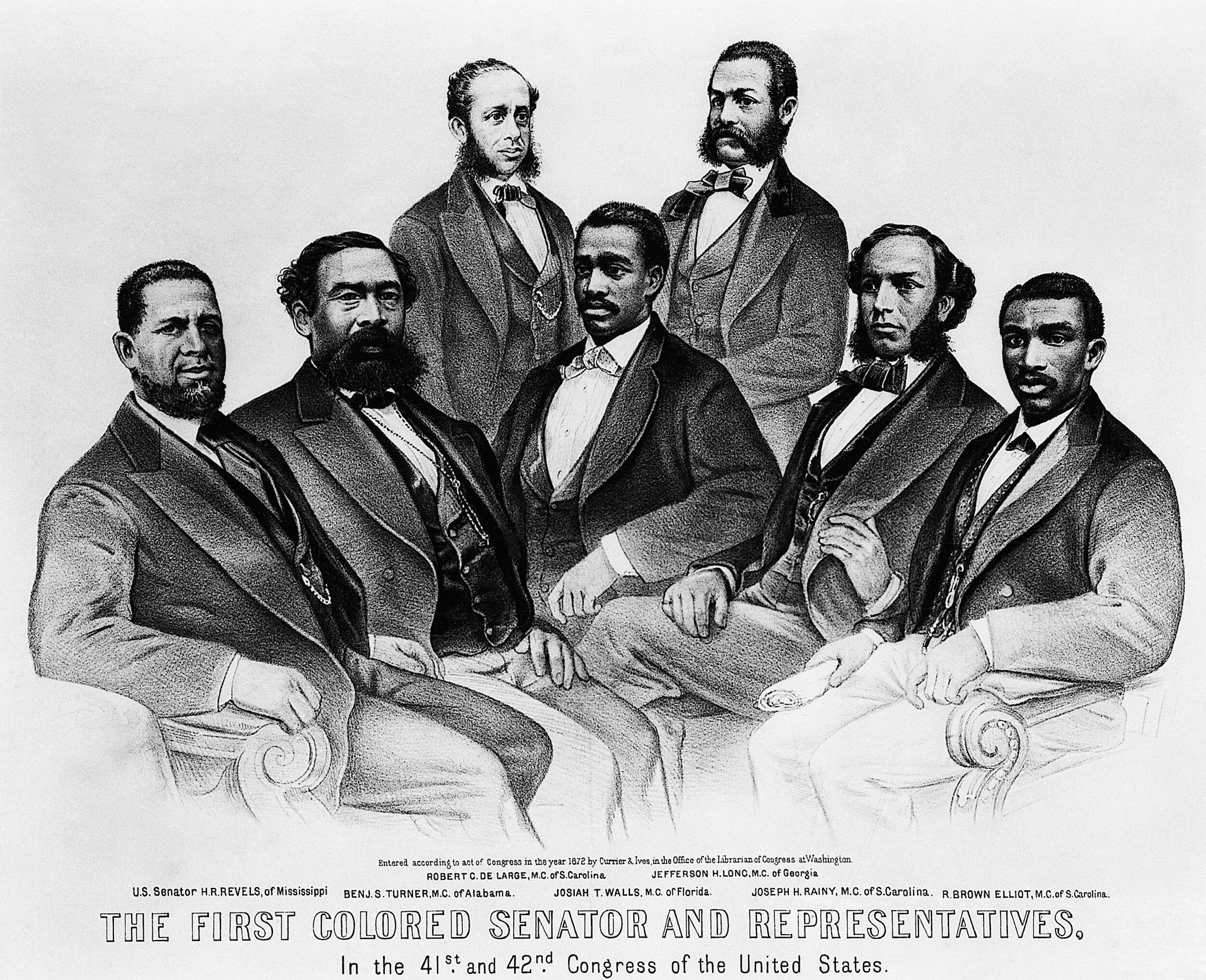 1872 lithograph of the first Black representatives in the US Congress