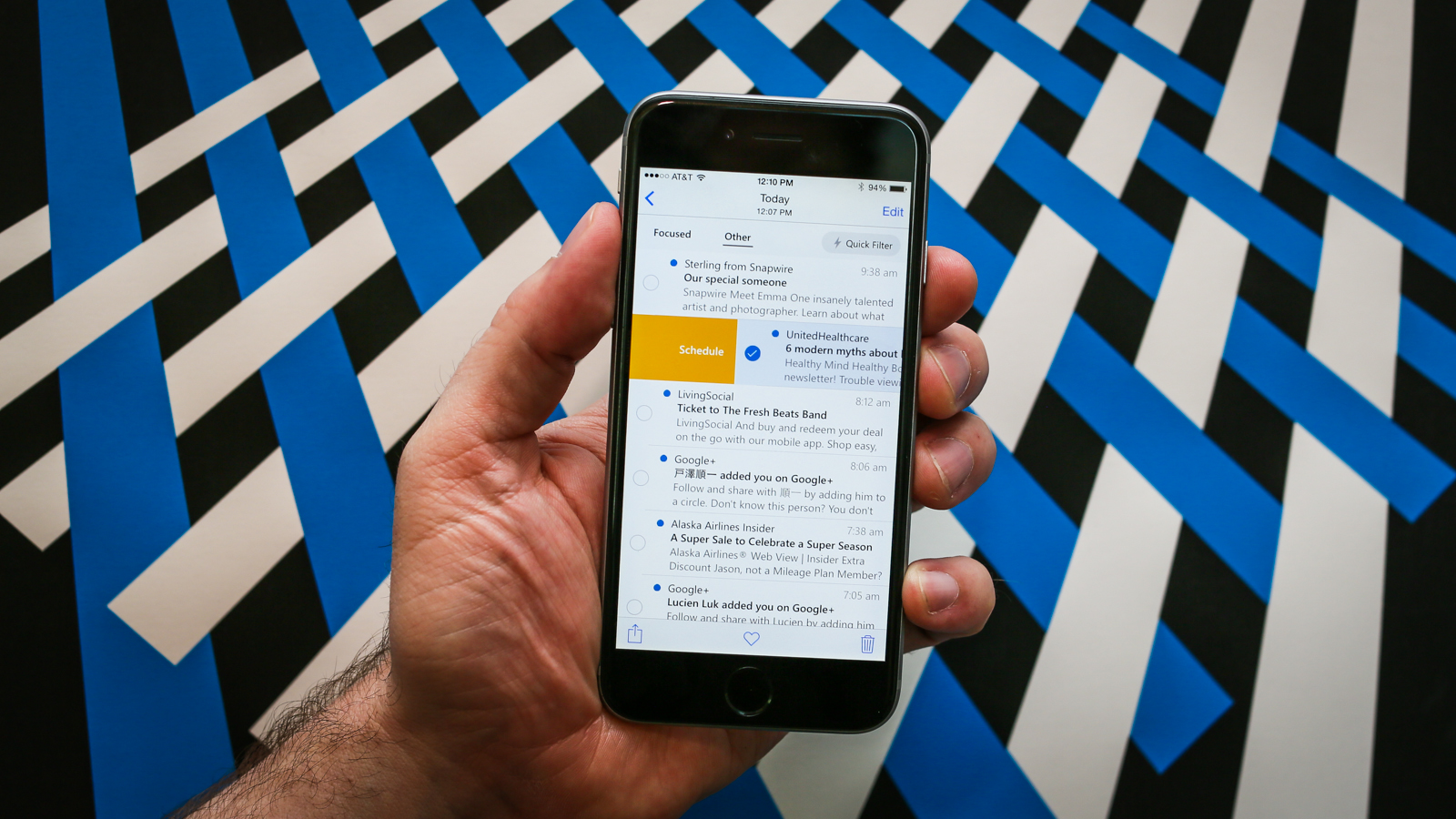 Microsoft Outlook on a smartphone screen