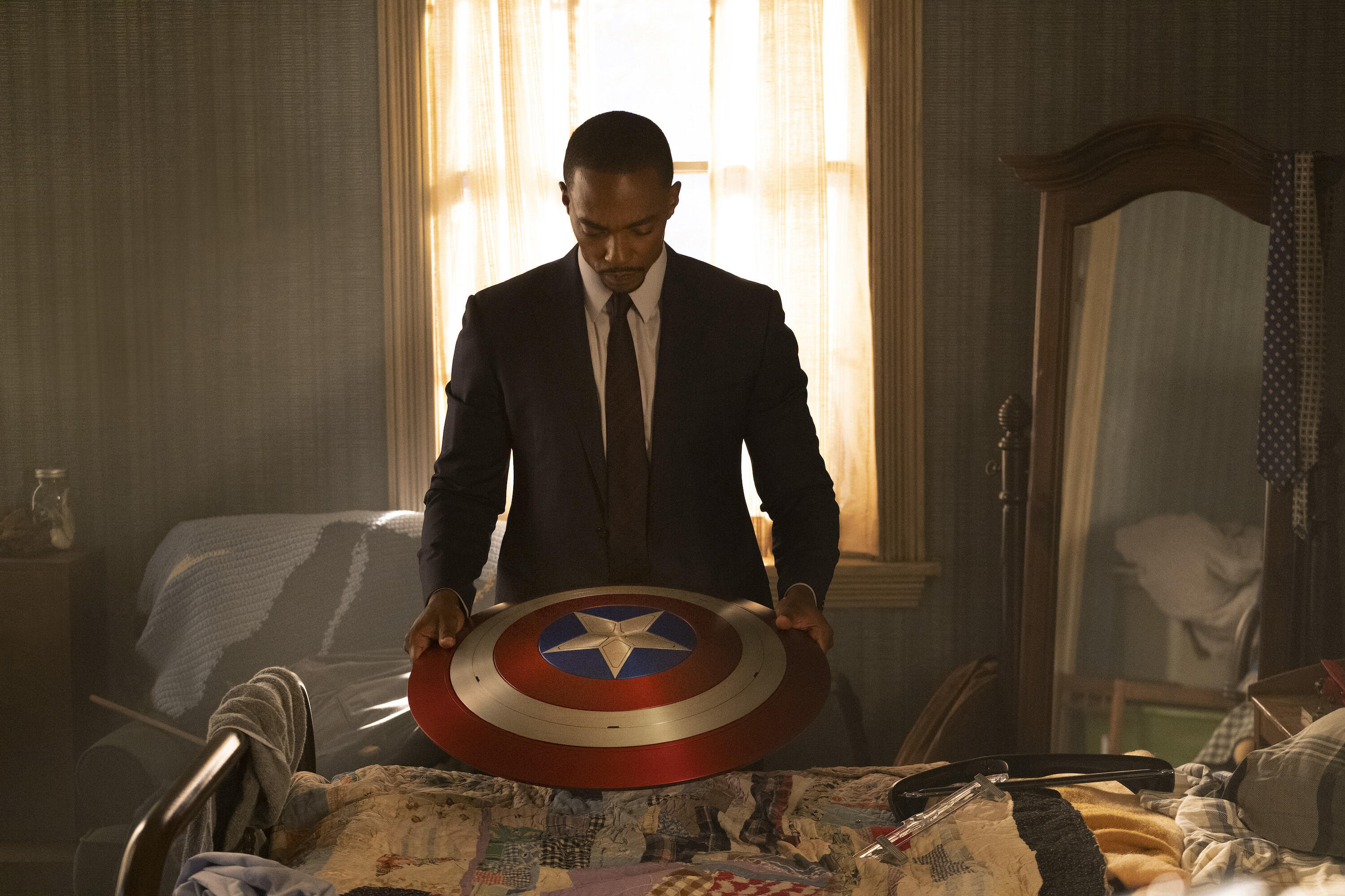 Sam Wilson with Captain America's shield