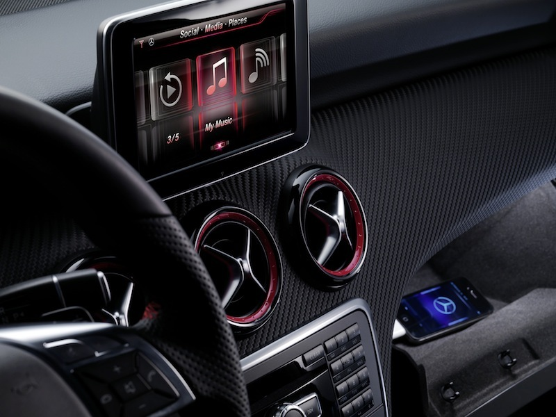 Mercedes' Digital DriveStyle App and Drive Kit Plus for the Apple iPhone tightly integrates the iPhone with the vehicle's electronics platform.