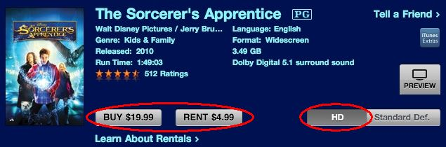 The same movie in HD costs $5 more to buy or $1 more to rent.