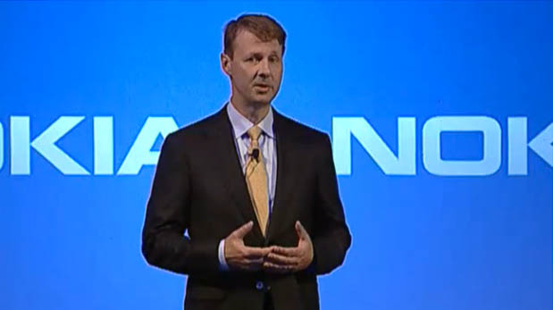 Risto Siilasmaa, chairman of Nokia's board of directors and its new interim CEO, speaks at a press conference about selling Nokia's phone business to Microsoft.