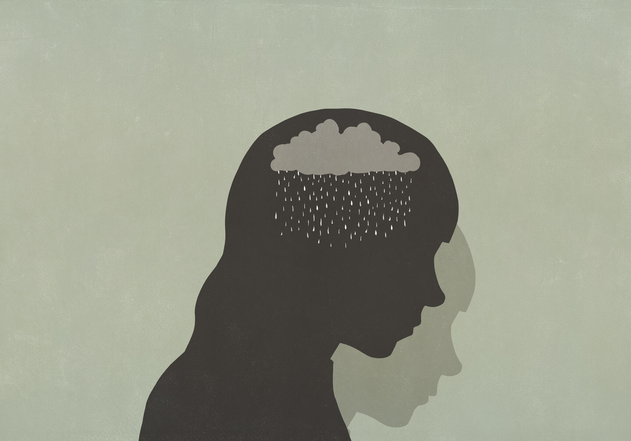 illustration of a girl on a green background, with sadness
