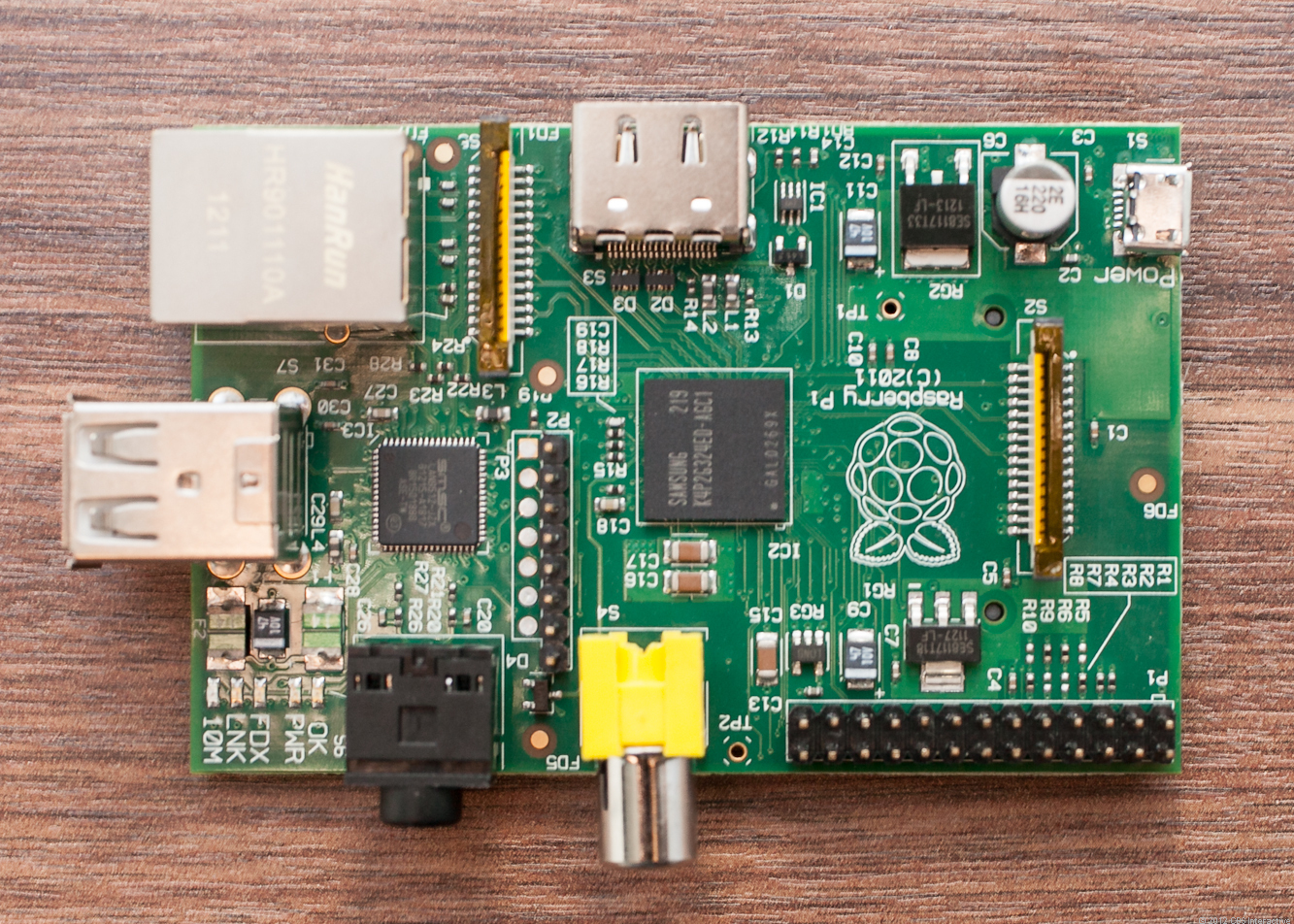 In the middle of the Raspberry Pi, the Broadcom BCM2835 system-on-a-chip.
