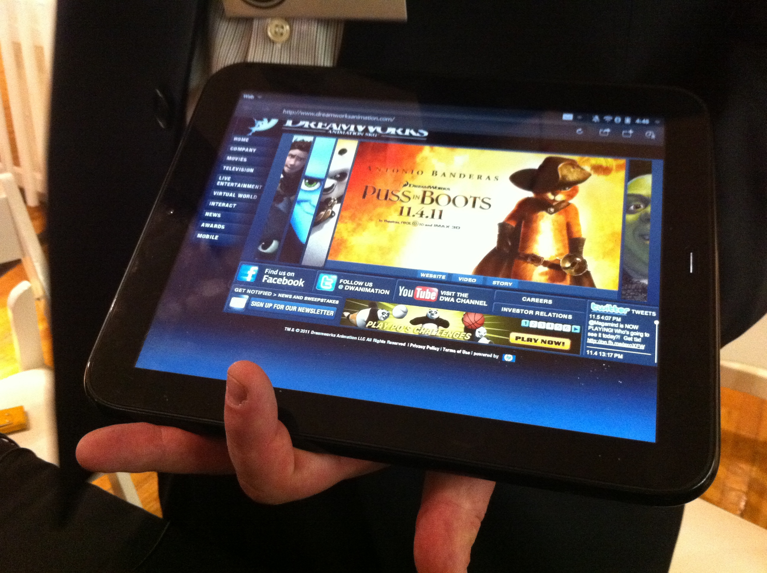 The HP TouchPad, demoing a Flash Web site for Dreamworks.