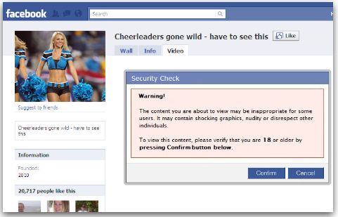 This Cheerleaders Gone Wild clickjacking attack hid behind a fake content warning.