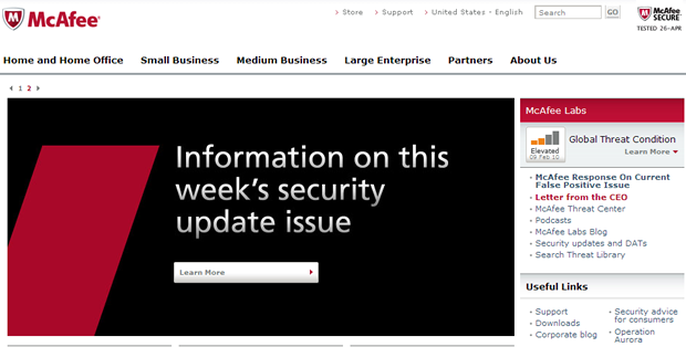 McAfee home page points to latest details about its security update problem.