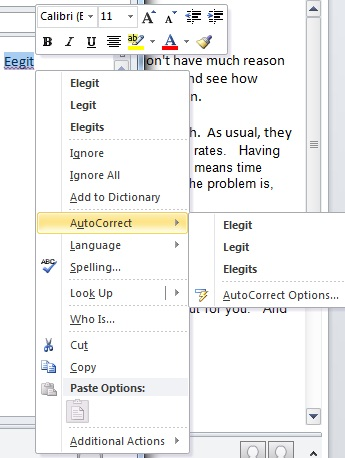 Microsoft WordMail for Outlook 2010 context menu