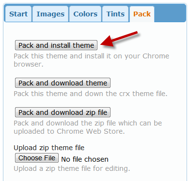 Pack and install theme