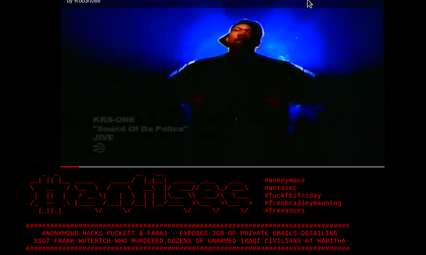 Screen shot of lawfirm's defaced Web site attacked by Anonymous after U.S. Marine received no jail time for allegedly leading civilian massacre in Iraq.