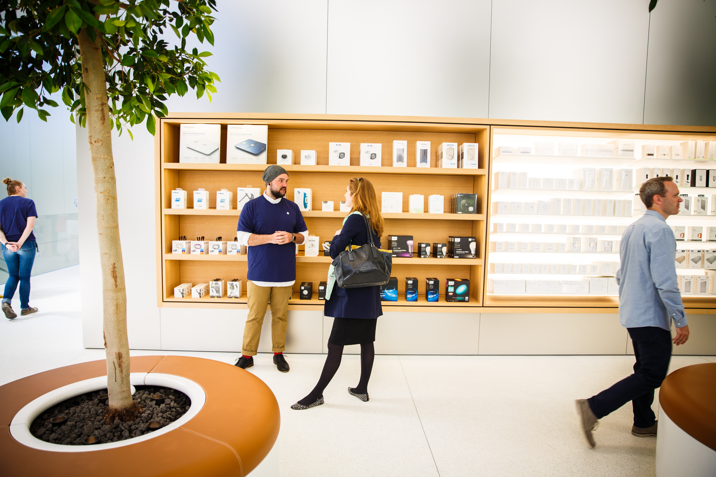 The Apple Store is a joyous place. Until customers arrive, that is.