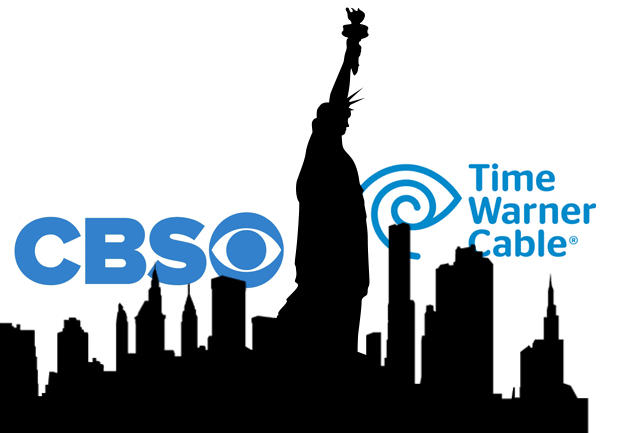 CBS and Time Warner Cable logos against the New York skyline
