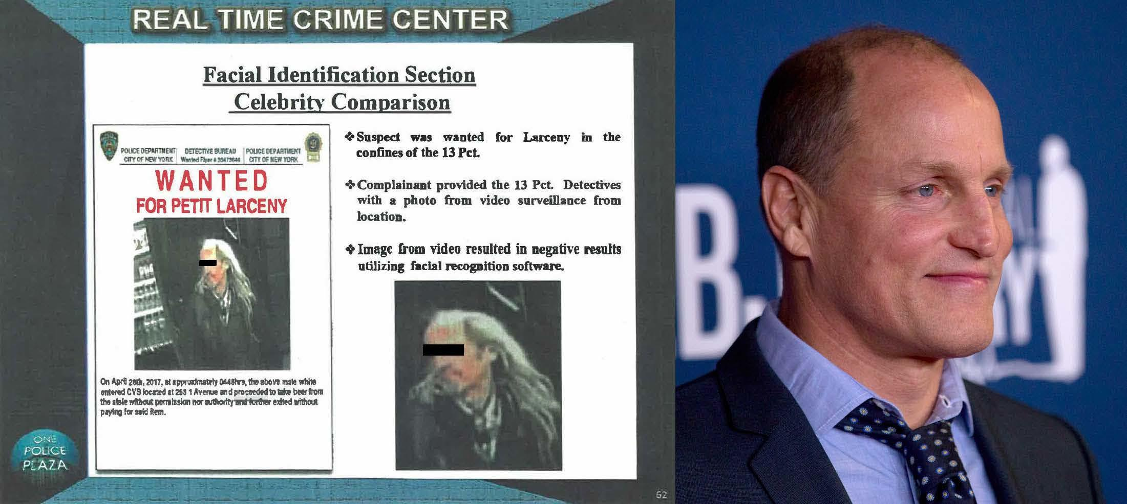A wanted poster from the NYPD and a photo of actor Woody Harrelson