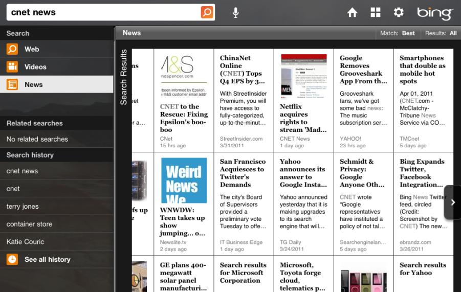 The news story view is a bit different from on the Web, and on the iPhone. The iPad app offers a grid you can parse through with thumbnails, headlines and timestamps.