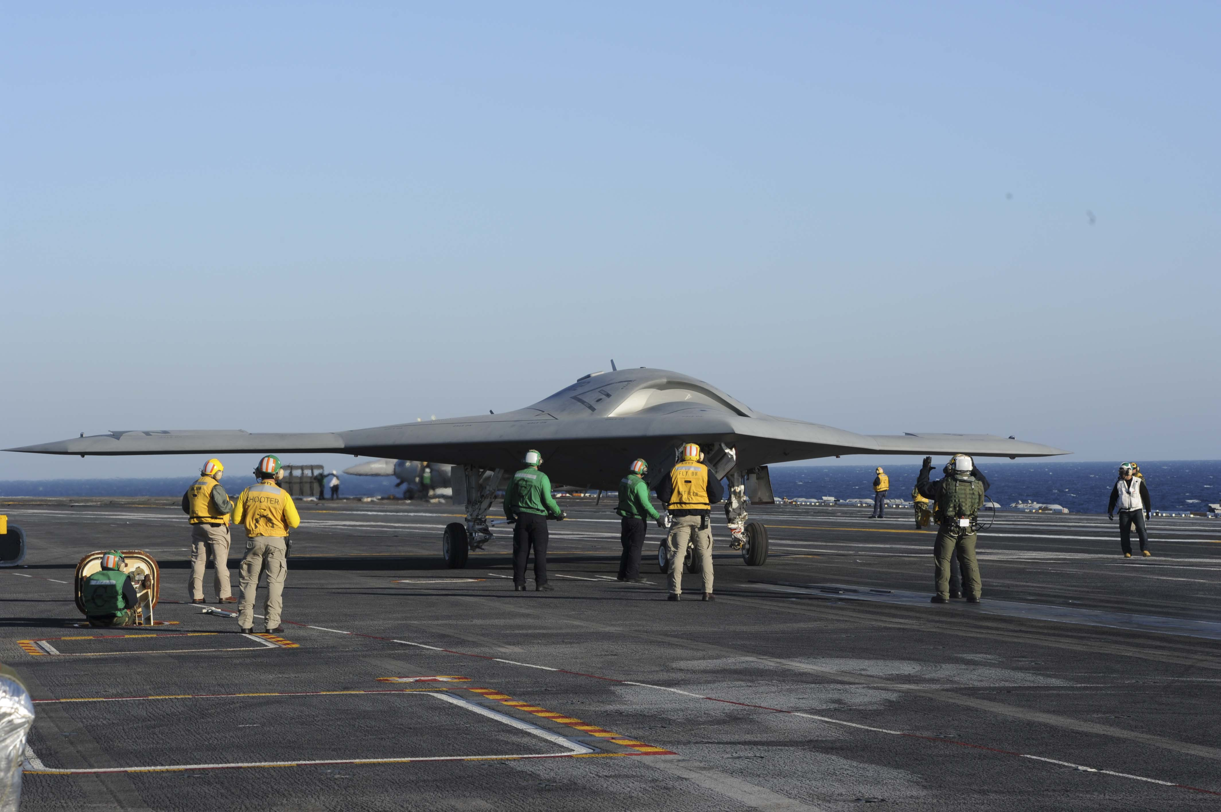 X-47B taxis to carrier catapult