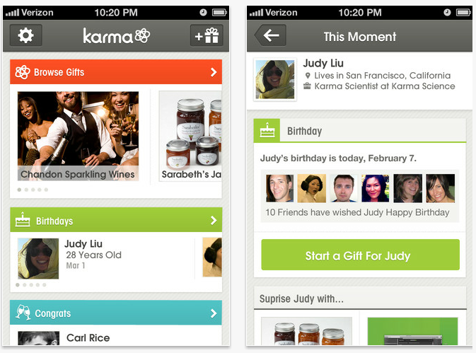 Social gift-giving app Karma lets you send actual, real-life tasteful gifts to your Facebook friends.