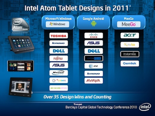 Intel CEO Paul Otellini said the Atom chip will be in at least 35 tablet designs in 2011. The above slide showed some of those upcoming brands.