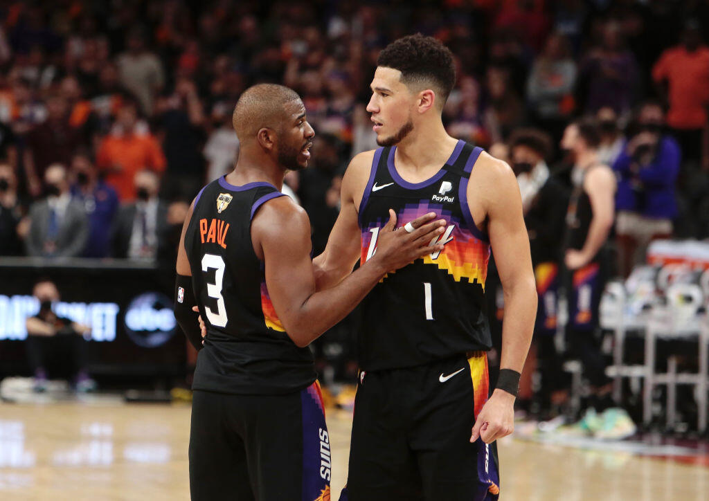 Chris Paul and Devin Booker during the 2021 NBA playoffs